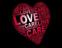 Nuage de mot d'amour dans la forme d'amour Photographie stock libre de droits