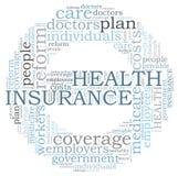 Nuage de mot d'assurance médicale maladie Photo stock