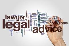 Nuage de mot d'avis juridique Photo stock
