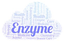 Nuage de mot d'enzymes illustration stock