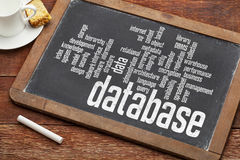Nuage de mot de base de données sur le tableau noir Photos libres de droits