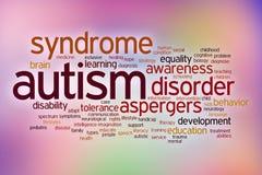 Nuage de mot de concept d'incapacité d'autisme sur une tache floue Image stock