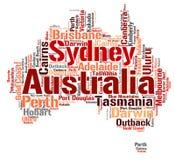 Nuage de mot de destinations de voyage de dessus d'Australie Photo libre de droits