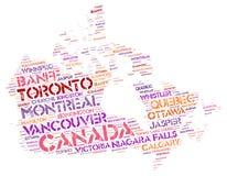 Nuage de mot de destinations de voyage de dessus de Canada Photographie stock
