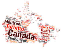 Nuage de mot de destinations de voyage de dessus de Canada Photographie stock libre de droits