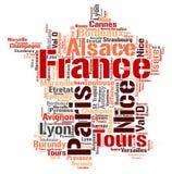 Nuage de mot de destinations de voyage de dessus de Frances Photos libres de droits