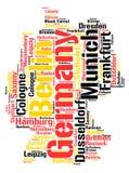 Nuage de mot de destinations de voyage de dessus de l'Allemagne Image stock