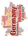 Nuage de mot de destinations de voyage de dessus de l'Allemagne Images stock