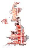 Nuage de mot de destinations de voyage de dessus de l'Angleterre Photographie stock
