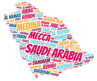 Nuage de mot de destinations de voyage de dessus de l'Arabie Saoudite Photos stock