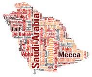 Nuage de mot de destinations de voyage de dessus de l'Arabie Saoudite Photos libres de droits