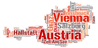 Nuage de mot de destinations de voyage de dessus de l'Autriche Photo stock