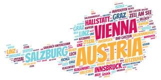 Nuage de mot de destinations de voyage de dessus de l'Autriche Photographie stock