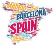 Nuage de mot de destinations de voyage de dessus de l'Espagne Photos stock