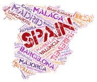 Nuage de mot de destinations de voyage de dessus de l'Espagne Image stock