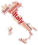 Nuage de mot de destinations de voyage de dessus de l'Italie Photos libres de droits