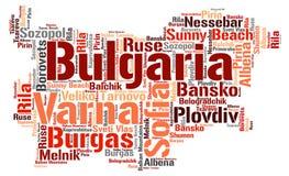 Nuage de mot de destinations de voyage de dessus de la Bulgarie Images stock