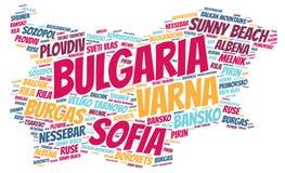 Nuage de mot de destinations de voyage de dessus de la Bulgarie Photographie stock