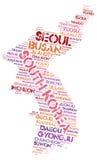 Nuage de mot de destinations de voyage de dessus de la Corée Photos libres de droits