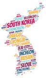 Nuage de mot de destinations de voyage de dessus de la Corée Photographie stock