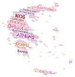 Nuage de mot de destinations de voyage de dessus de la Grèce Image libre de droits
