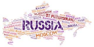 Nuage de mot de destinations de voyage de dessus de la Russie Photographie stock libre de droits