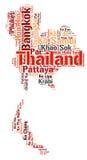 Nuage de mot de destinations de voyage de dessus de la Thaïlande Photo stock