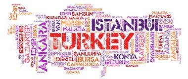 Nuage de mot de destinations de voyage de dessus de la Turquie Image libre de droits
