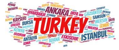 Nuage de mot de destinations de voyage de dessus de la Turquie photos libres de droits