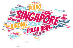 Nuage de mot de destinations de voyage de dessus de Singapour Photo libre de droits