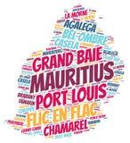 Nuage de mot de destinations de voyage de dessus des Îles Maurice Photos stock