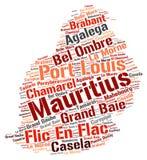 Nuage de mot de destinations de voyage de dessus des Îles Maurice Images libres de droits