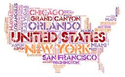 Nuage de mot de destinations de voyage de dessus des Etats-Unis Images libres de droits