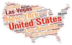 Nuage de mot de destinations de voyage de dessus des Etats-Unis Images stock