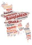 Nuage de mot de destinations de voyage de dessus du Bangladesh Photos stock