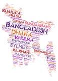 Nuage de mot de destinations de voyage de dessus du Bangladesh Photographie stock