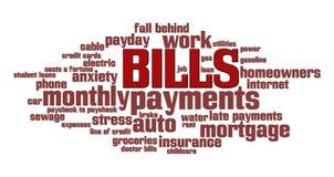 Nuage de mot de factures Image stock