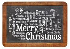 Nuage de mot de Joyeux Noël Images libres de droits