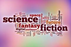 Nuage de mot de la science-fiction avec le fond abstrait photos stock
