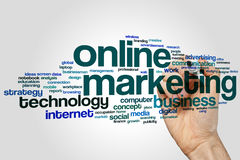 Nuage de mot de marketing en ligne Images stock