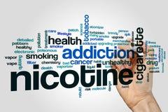 Nuage de mot de nicotine images stock