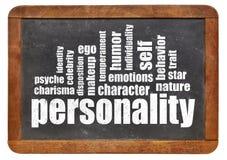 Nuage de mot de personnalité sur le tableau noir image stock