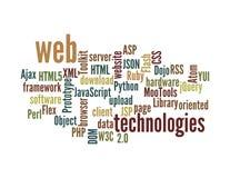 Nuage de mot de technologie de Web d'isolement Images libres de droits