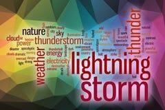 Nuage de mot de tempête de foudre avec le fond abstrait Photo stock