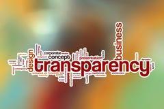 Nuage de mot de transparent avec le fond abstrait Photo libre de droits