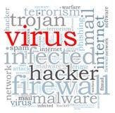 Nuage de mot de virus de pare-feu Image libre de droits