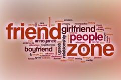Nuage de mot de zone d'ami avec le fond abstrait Photographie stock