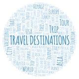Nuage de mot de destinations de voyage illustration stock