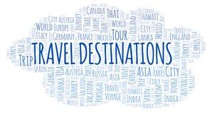 Nuage de mot de destinations de voyage illustration de vecteur