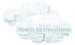 Nuage de mot de destinations de voyage illustration libre de droits